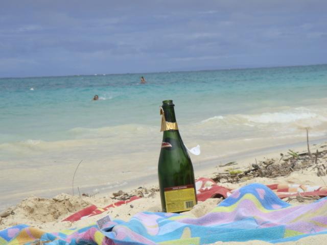 浜辺のお酒