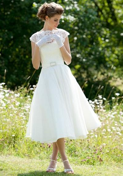 ハワイ ガーデンウェディング ミモレ丈ドレス