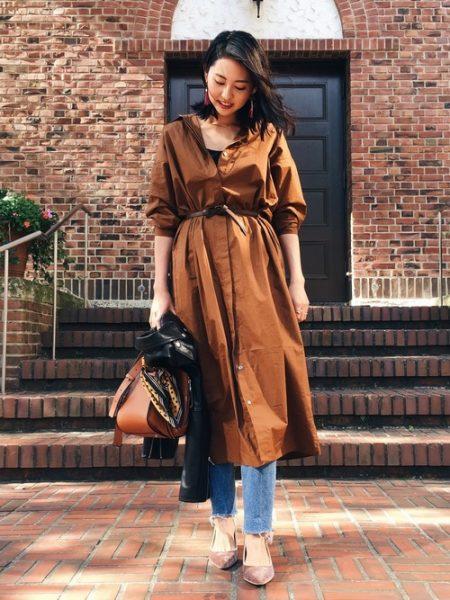 アパレル 秋ファッション ロングシャツワンピース