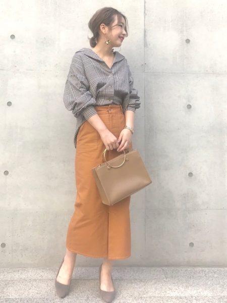 チェックシャツ スカート コーデ