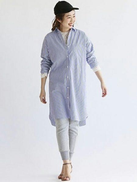 アパレル スウェットパンツ ロングストライプシャツ