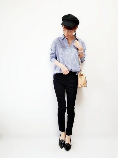 黒スキニーパンツ ストライプシャツ コーデ