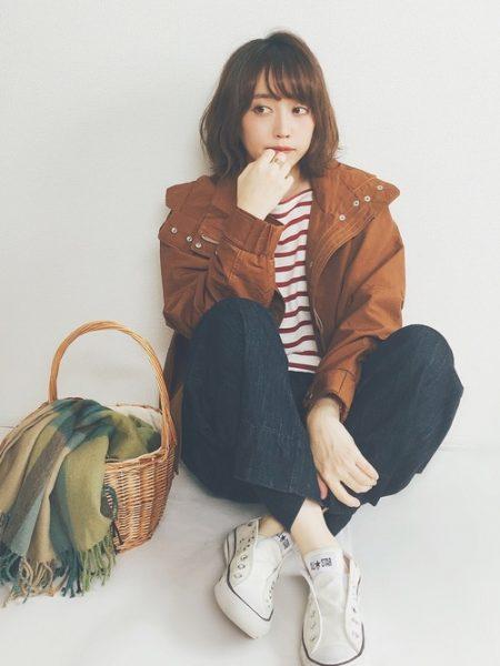 アパレル 秋ファッション ワイドデニムパンツ