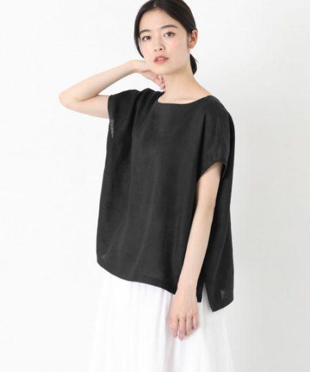 アパレル 黒シャツ リネンフレンチプルオーバーシャツ