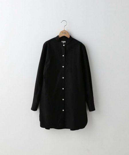 アパレル 黒シャツ バンドカラーロングシャツ