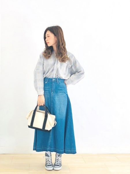 アパレル チェックシャツ ロングデニムスカート