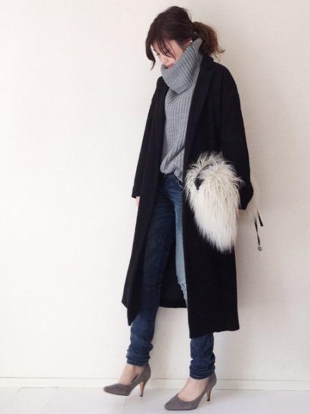黒 ロングコート 冬