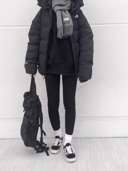 黒 スウェット 冬