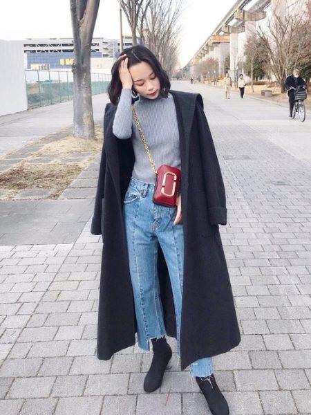 春 黒 ロングコート