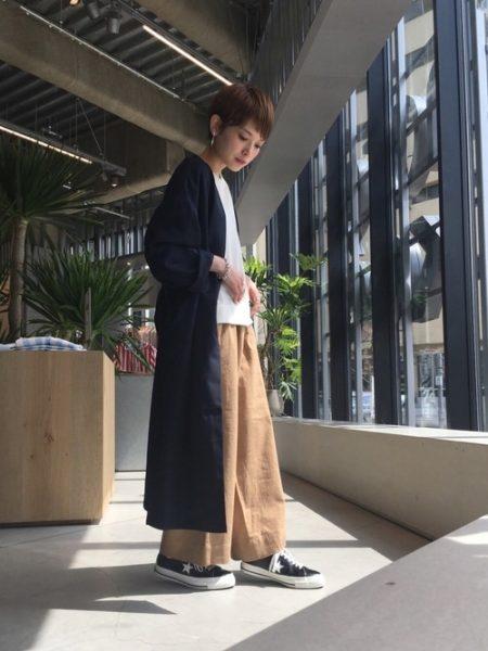 ネイビー ロングコート 秋