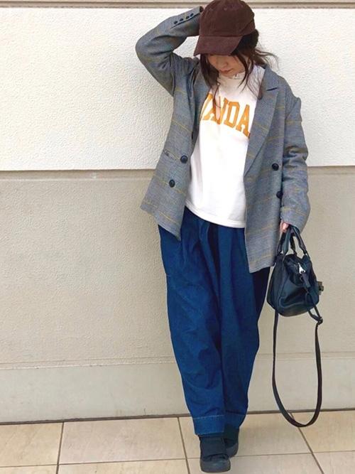 ルーズテーラードジャケット × ロゴスウェット × デニム