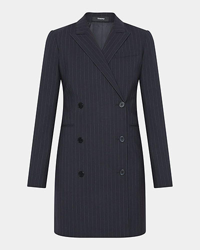 Wool Pinstripe Blazer Dress