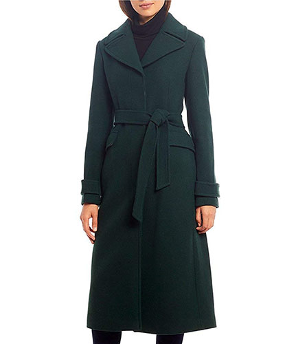 Maxi Length Button Front Belted Wool Ble