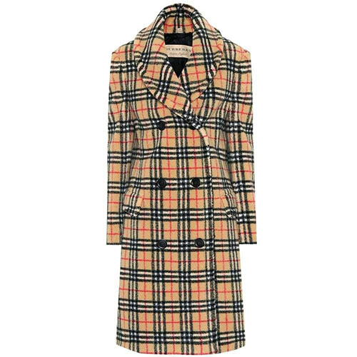 Vintage Check faux fur coat